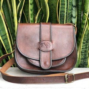 Vtg 70s80s Tooled Leather Handbag Purse Saddle Bag